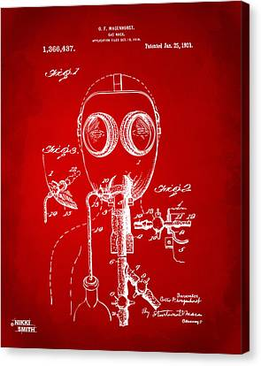1921 Gas Mask Patent Artwork - Red Canvas Print by Nikki Marie Smith
