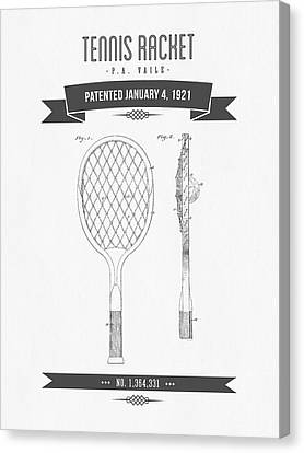 1921 Tennis Racket Patent Drawing - Retro Gray Canvas Print by Aged Pixel