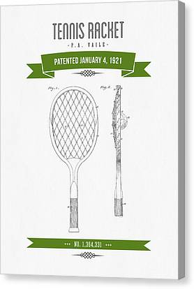 1921 Tennis Racket Patent Drawing - Retro Green Canvas Print by Aged Pixel