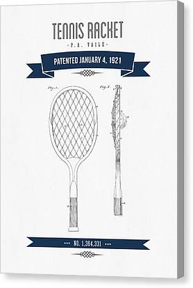 1921 Tennis Racket Patent Drawing - Retro Navy Blue Canvas Print by Aged Pixel