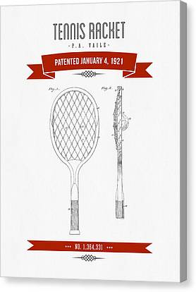 1921 Tennis Racket Patent Drawing - Retro Red Canvas Print by Aged Pixel