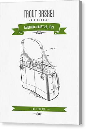 1921 Trout Basket Patent Drawing - Green Canvas Print by Aged Pixel