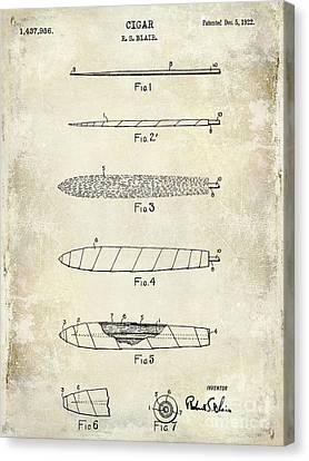 1922 Cigar Patent Drawing Canvas Print by Jon Neidert