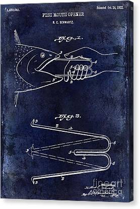 1922 Fish Mouth Opener Patent Drawing Blue Canvas Print by Jon Neidert