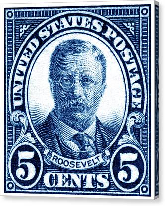 1922 Theodore Roosevelt Stamp Canvas Print by Historic Image