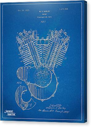 Horsepower Canvas Print - 1923 Harley Davidson Engine Patent Artwork - Blueprint by Nikki Smith