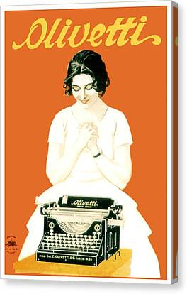 1924 - Olivetti Typewriter Advertisement Poster - Color Canvas Print by John Madison