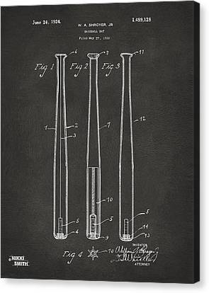 1924 Baseball Bat Patent Artwork - Gray Canvas Print