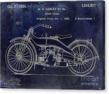 1924 Harley Davidson Motorcycle Patent  Canvas Print by Jon Neidert