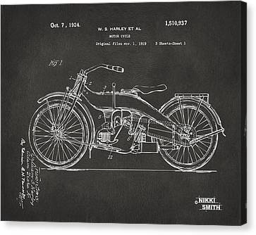 1924 Harley Motorcycle Patent Artwork - Gray Canvas Print