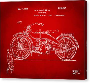 1924 Harley Motorcycle Patent Artwork Red Canvas Print by Nikki Marie Smith