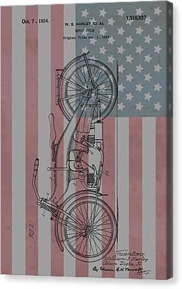 1924 Harley Patent American Flag Canvas Print