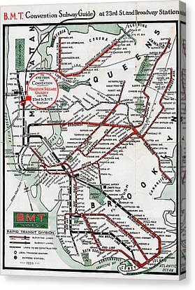 1924 Map Brooklyn Manhattan Transit Canvas Print