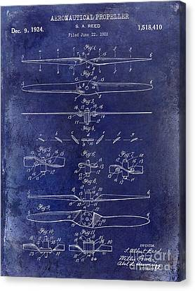 Vintage Airplane Canvas Print - 1924 Propeller Patent Drawing Blue by Jon Neidert