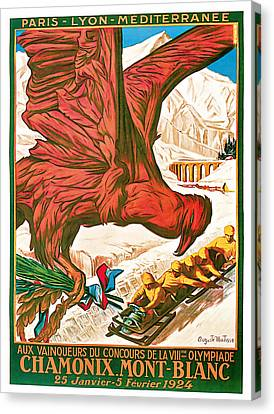 1924 Winter Olympics France - Vintage Sport Art Canvas Print