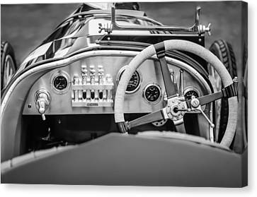 1925 Aston Martin 16 Valve Twin Cam Grand Prix Steering Wheel -0790bw Canvas Print by Jill Reger