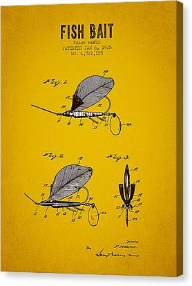 1925 Fish Bait Patent - Yellow Brown Canvas Print