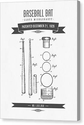 1926 Baseball Bat Patent Drawing Canvas Print by Aged Pixel