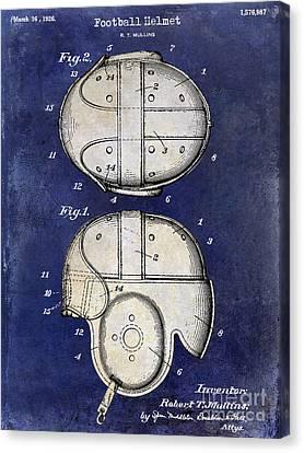1926 Football Helmet Patent Drawing 2 Tone Blue Canvas Print by Jon Neidert