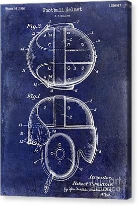 1926 Football Helmet Patent Drawing Blue Canvas Print by Jon Neidert