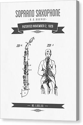 1926 Soprano Saxophone Patent Drawing Canvas Print by Aged Pixel