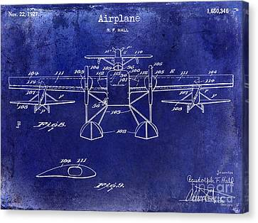 1927 Airplane Patent Drawing Blue Canvas Print by Jon Neidert