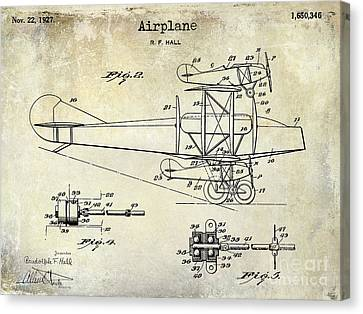 1927 Airplane Patent Drawing Canvas Print by Jon Neidert