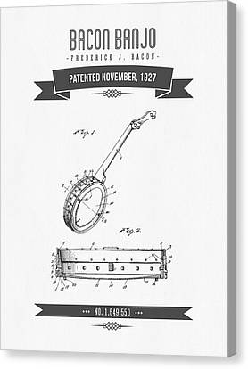1927 Bacon Banjo Patent Drawing Canvas Print by Aged Pixel