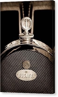 Bugatti Vintage Car Canvas Print - 1927 Bugatti Replica Hood Ornament - Emblem by Jill Reger