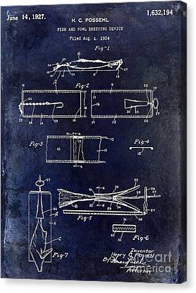 1927 Fish And Fowl Cleaning Device Patent Blue Canvas Print by Jon Neidert