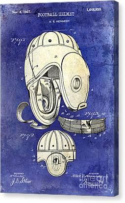 1927 Football Helmet Patent Drawing 2 Tone Blue Canvas Print by Jon Neidert