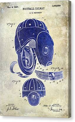 1927 Football Helmet Patent Drawing 2 Tone Canvas Print by Jon Neidert