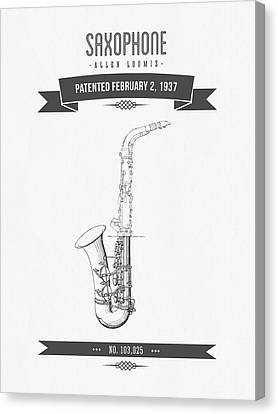 1937 Saxophone Patent Drawing Canvas Print by Aged Pixel