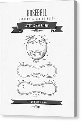 1928 Baseball Patent Drawing Canvas Print by Aged Pixel