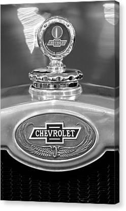 1928 Chevrolet 2 Door Coupe Hood Ornament Moto Meter Canvas Print by Jill Reger