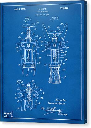 1928 Cork Extractor Patent Artwork - Blueprint Canvas Print by Nikki Marie Smith