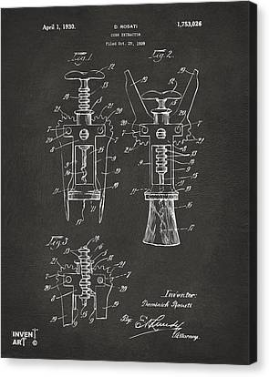 1928 Cork Extractor Patent Artwork - Gray Canvas Print