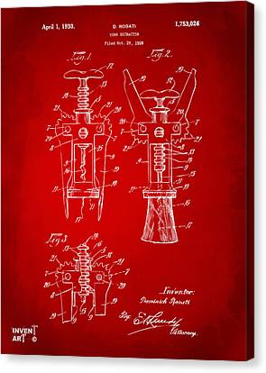 1928 Cork Extractor Patent Artwork - Red Canvas Print by Nikki Marie Smith