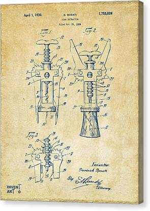 1928 Cork Extractor Patent Artwork - Vintage Canvas Print