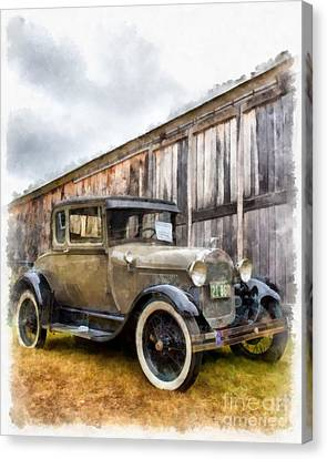 1928 Ford Model A Watercolor Canvas Print by Edward Fielding