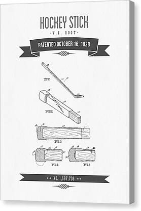 1928 Hockey Stick Patent Drawing - Retro Gray Canvas Print by Aged Pixel