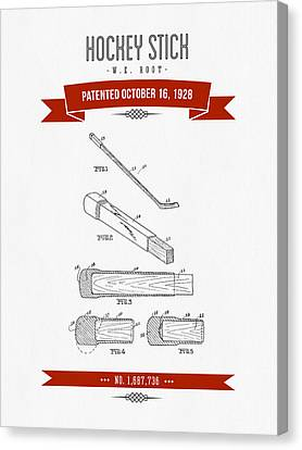 1928 Hockey Stick Patent Drawing - Retro Red Canvas Print by Aged Pixel