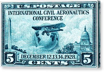 1928 International Civil Aeronautics Stamp Canvas Print by Historic Image