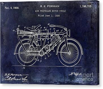 1928 Motorcycle Patent Drawing Blue Canvas Print by Jon Neidert
