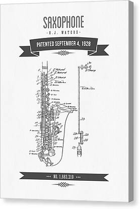 1928 Saxophone Patent Drawing Canvas Print by Aged Pixel