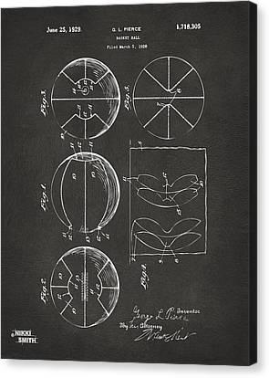 Basket Ball Canvas Print - 1929 Basketball Patent Artwork - Gray by Nikki Marie Smith