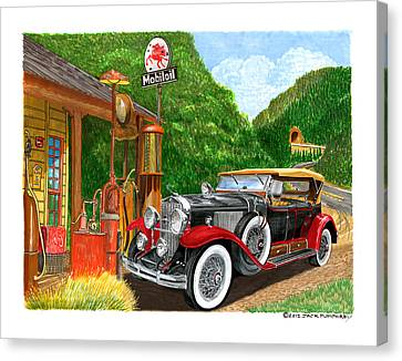 1929 Cadillac Dual Cowl Phaeton And Pegasus Canvas Print by Jack Pumphrey