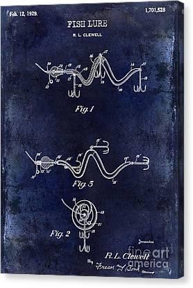 1929 Fish Lure Patent Drawing Blue Canvas Print by Jon Neidert