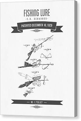 1929 Fishing Lure Patent Drawing Canvas Print by Aged Pixel