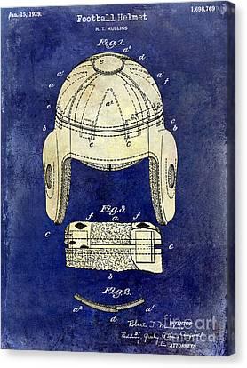 Miami Canvas Print - 1929 Football Helmet Patent Drawing 2 Tone Blue by Jon Neidert